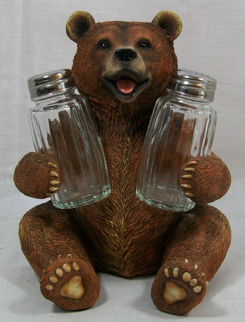 New Grizzly Bear Salt U0026 Pepper Shaker Set Kitchen Decor