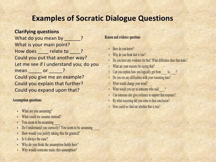 Examples Of Socratic Dialogue Questions Clarifying Questions What Do