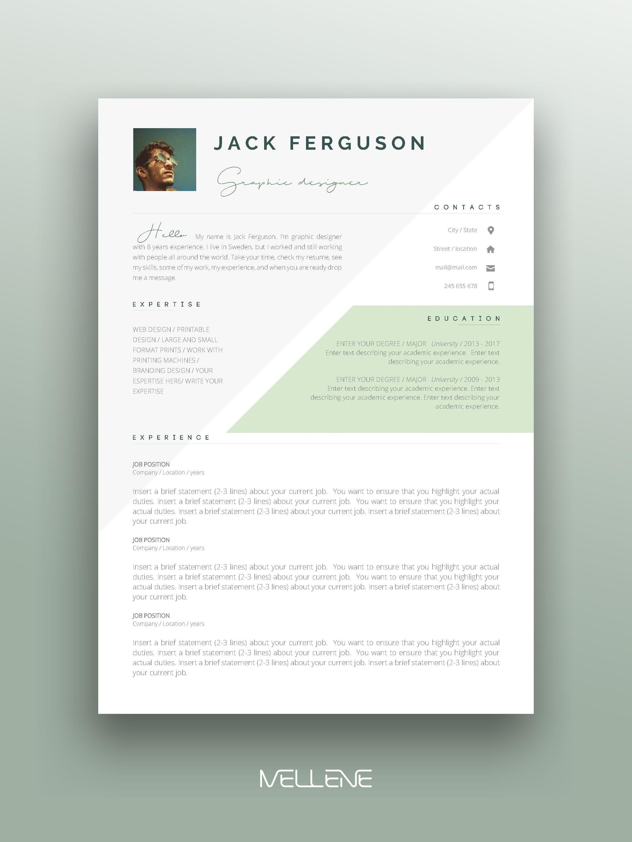 Resume CV template for MS Word Professional application cover letter Self presentation branding