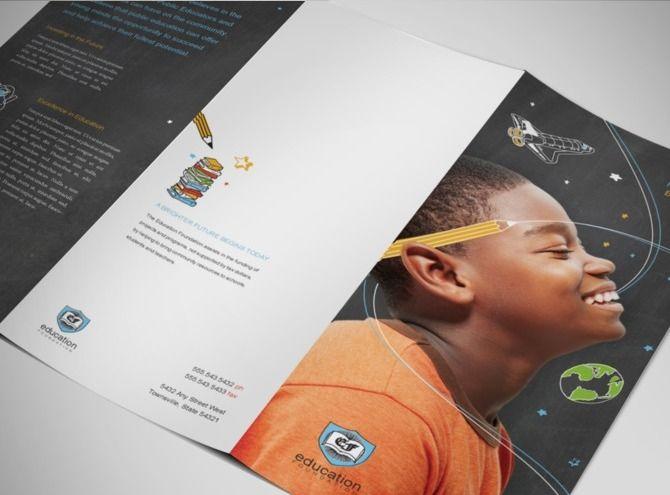 non profit teaching organization brochure template trifold