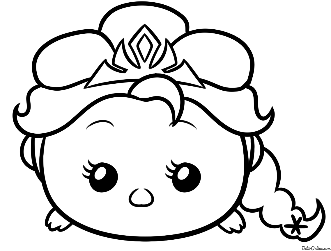 Tsum Coloring Pictures To Color Раскраска Tsum Tsum Эльза For