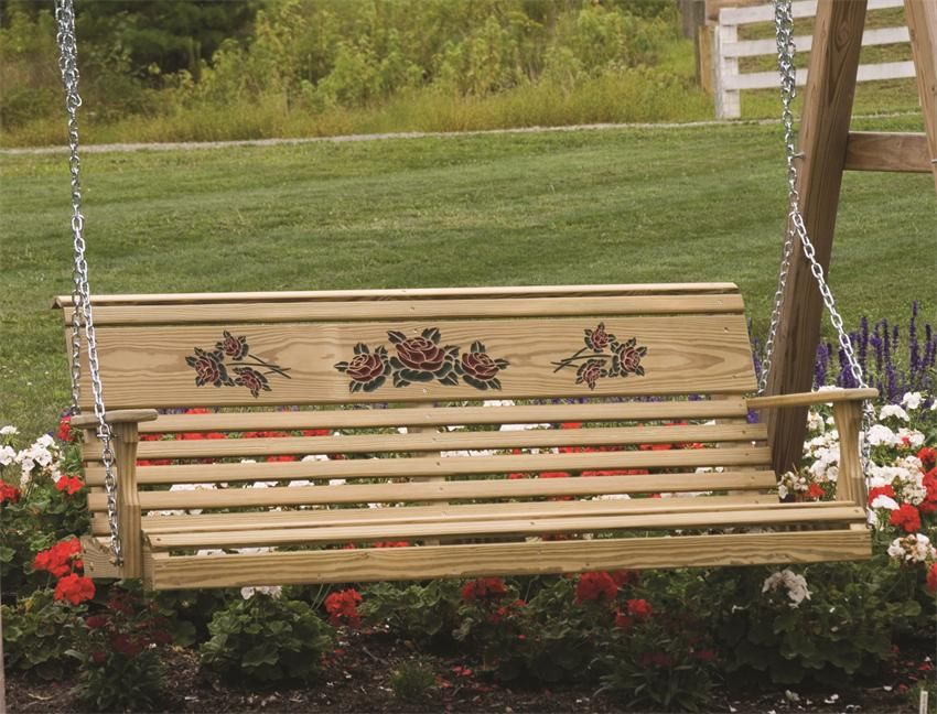 Amish Pine Rollback Porch Swing With Rose Design