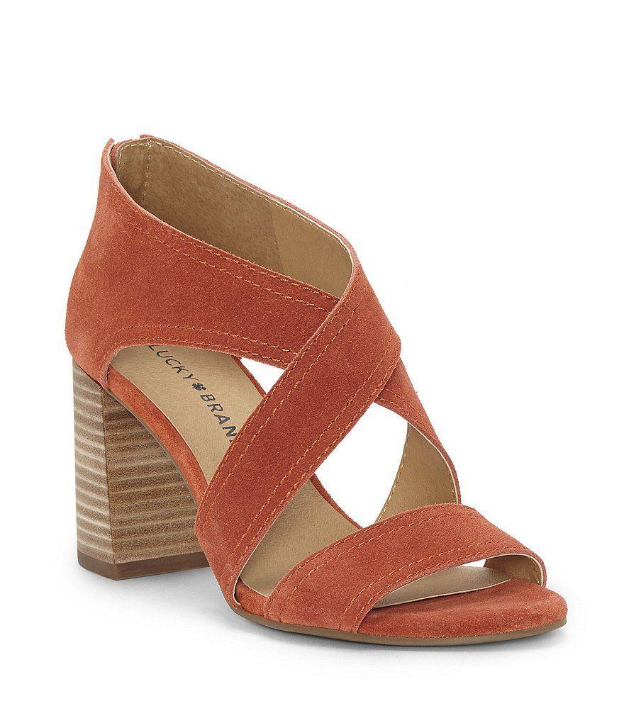 8179085d5b2 Lucky Brand Vidva Suede Block Heel Sandals