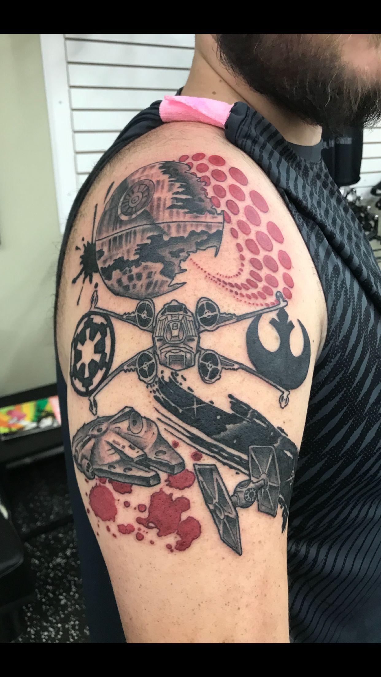 Star Wars Trash Polka Tattoo by kennesawtattoos at Aces High Tattoo ...