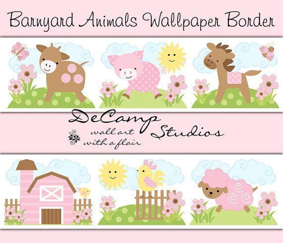 PINK BARNYARD FARM Animal Wallpaper Border Wall Decal Girl Nursery - Barnyard nursery wall decals