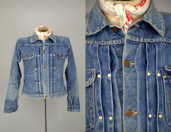 069849cd72 40s Wrangler Denim 11MJ 1947 Blue Bell Indigo Selvedge Denim Jean Jacket