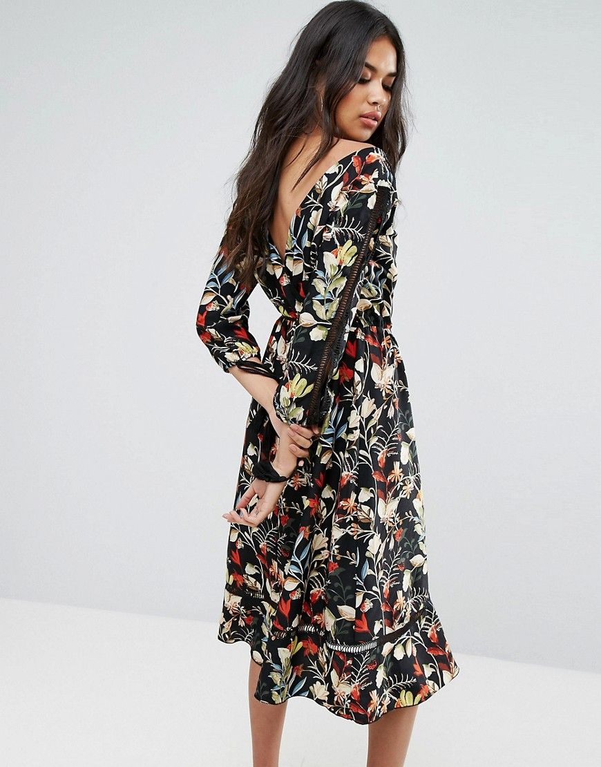 1d46f5be73fa0 Boohoo Floral Wrap Midi Dress With Tie Sleeve Detail - Multi | Shop ...