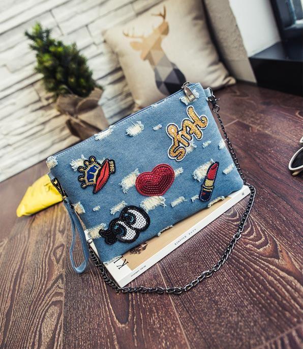 Bolsa envelope com Patches Bolsos Carteras Mujer