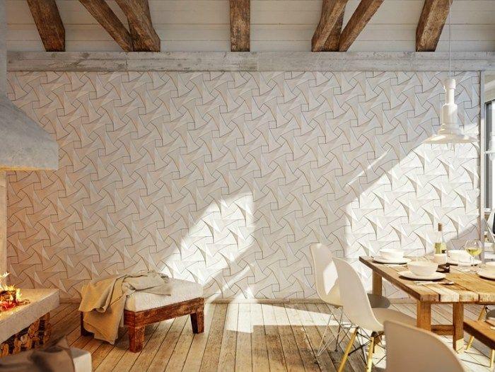 Gestaltungsidee für Zimmerwände-3D-Wandpaneele aus Faserzement - schlafzimmer einrichten 3d