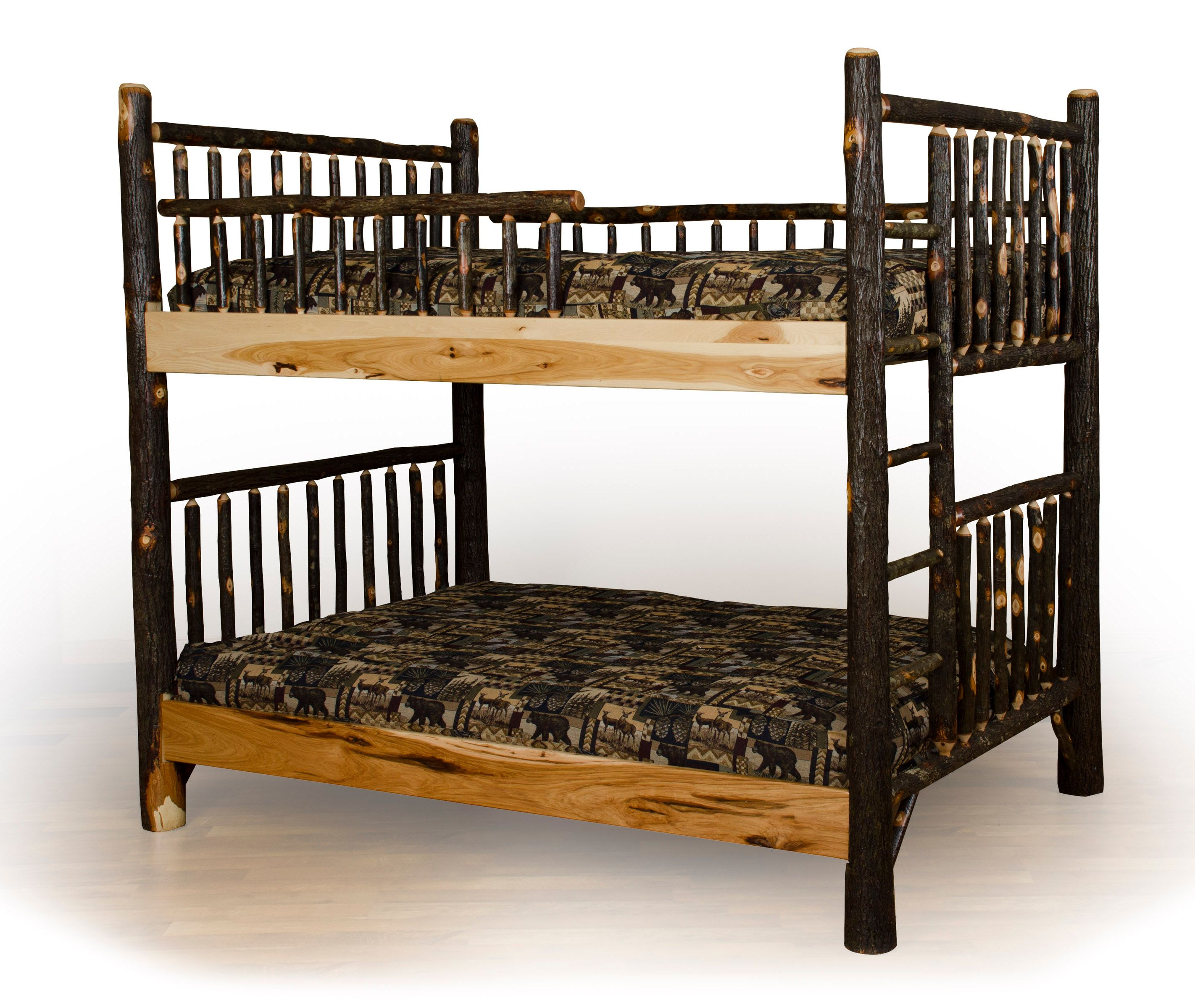 Rustic Hickory Log Bunk Bed Set Twin Over Twin to Queen