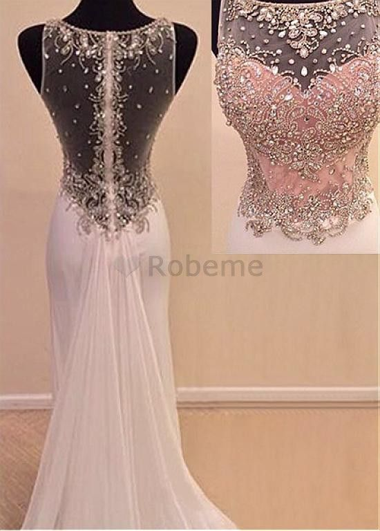 e37aceadc48 Robe de bal élégante en tulle chiffon perle sirène