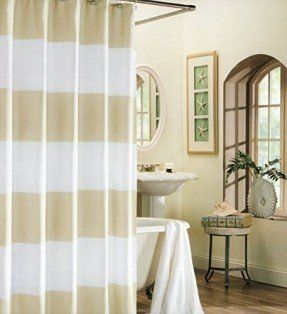 tan striped shower curtain. Image result for pottery barn wide striped shower curtain tan