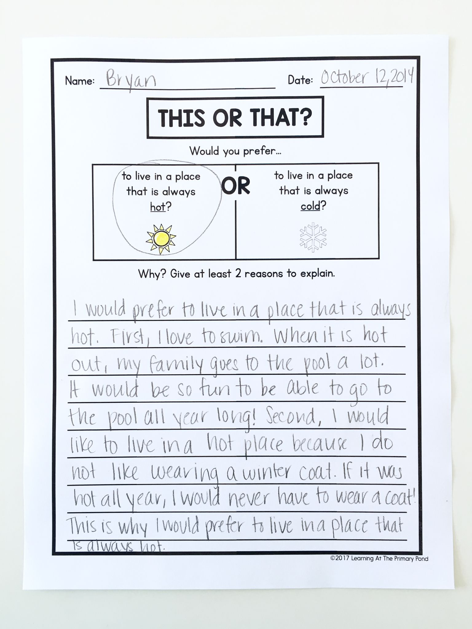 hight resolution of Opinion writing activity for second grade - kids choose between two options  and explain their pre…   Writing center