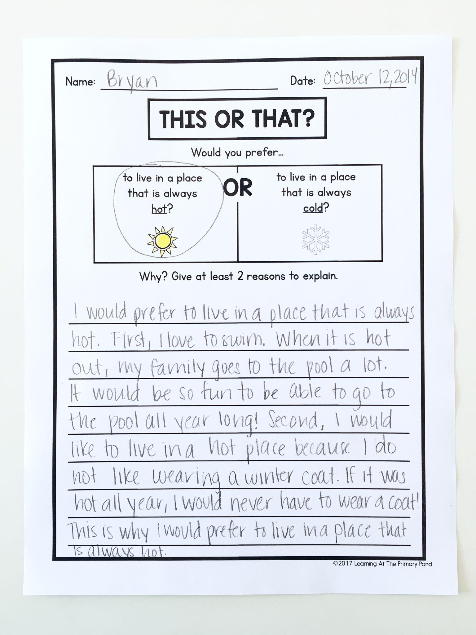Writing Center Activities For Second Grade Writing Center Writing Center Activities Opinion Writing Activities