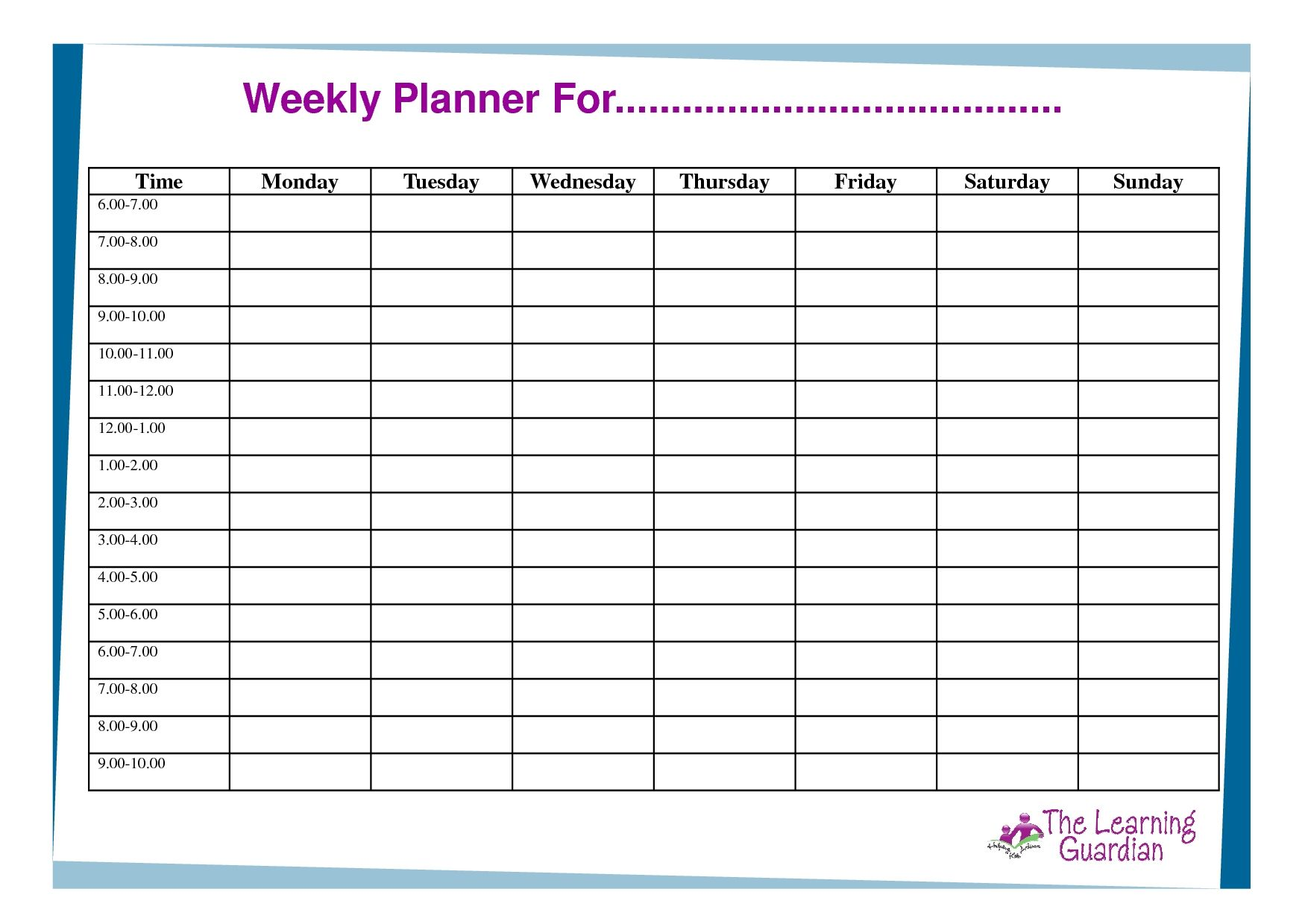 Free Printable Weekly Calendar Templates Planner For Time Incredible 7 Day Weekly Planner