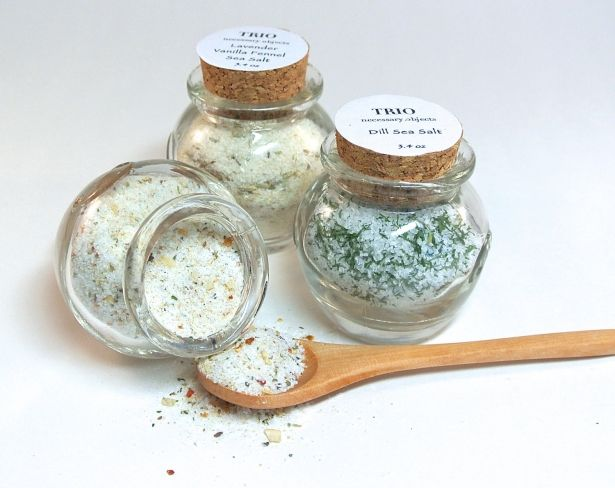 3 Flavored Gourmet Sea Salt Blends In Mini Honey Pot Jar With Cork by Trio Artisan Designs on Gourmly