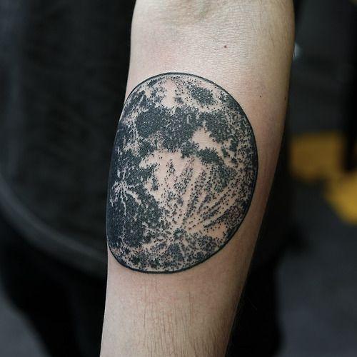 70a1d3989a0c2 Realistic Moon Forearm Tattoo | Tattoos | Realistic moon tattoo, Dot ...