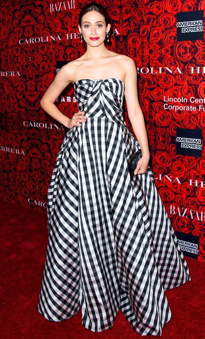 aa6d5a011c Emmy Rossum in a black-and-white checkered strapless Carolina Herrera dress
