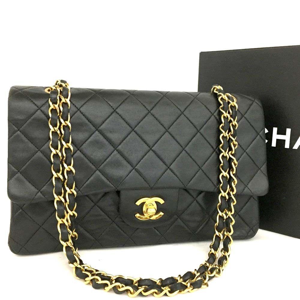ba1005e28e0 CHANEL Double Flap 25 Quilted CC Logo Lambskin w Chain Shoulder Bag  Black n570