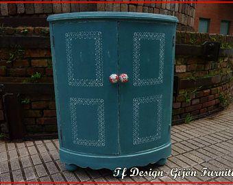 Muebles pintados vintage, Mueble Bar, Mueble Auxiliar Esquina, Mueble Vintage Turquesa, Mueble Bar Madera Vintage, Mueble con Puertas