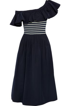 SEA One-shoulder striped intarsia-paneled twill midi dress | Fashion ...