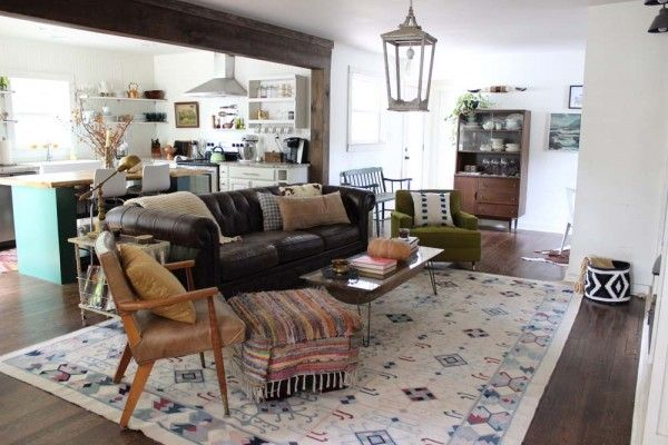 Rustic Eclectic Style Living Room And Kitchen Mid Century