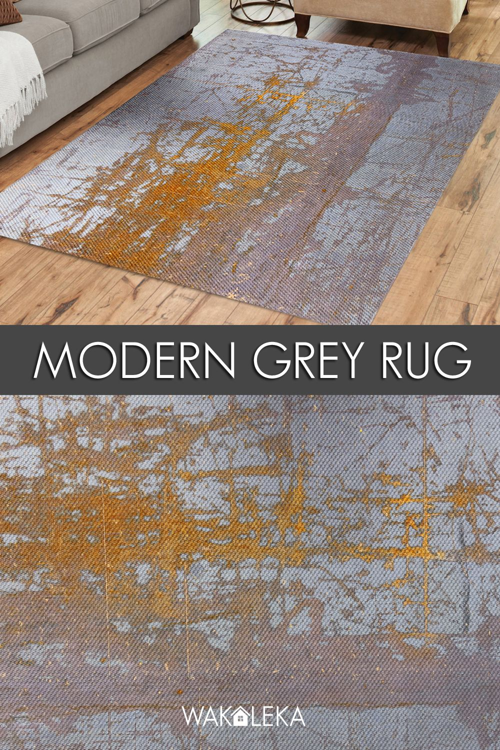 Industrial Style Area Rug Distressed Concrete Design Gray And
