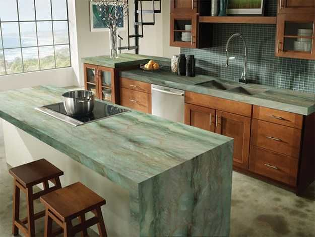 40 Great Ideas For Your Modern Kitchen Countertop Material And Design Unique Kitchen Countertops Green Kitchen Countertops Marble Countertops Kitchen
