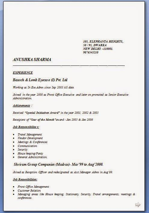model cv format Sample Template Example of ExcellentCV / Resume