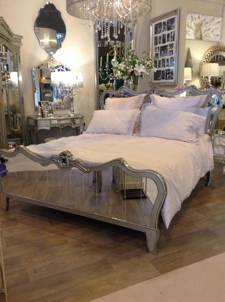 Venetian Mirrored King Size Bed Frame With Champagne Trim Bed Frame King Size Bed Frame Mirror Bed