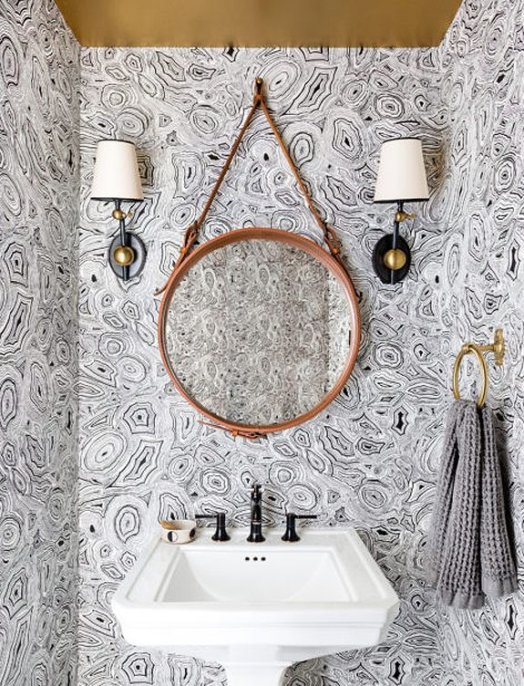 Who Said Small Bathrooms Can T Be Fun This Bold Wallpaper Creates A