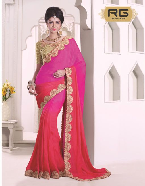fc8ffe0b35 Pink And Peach Colour Saree In Double Colour With Heavy Embroidery Work And  Border Work|| Pink And Peach Colour Chiffon Saree With Heavy Embroidery  Work On ...