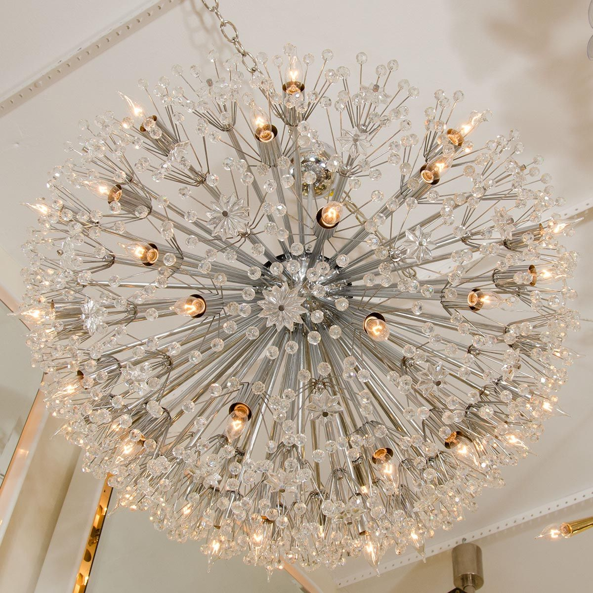 Exceptional Monumental Polished Nickel Half Starburst Chandelier | Chandeliers U0026  Pendants | John Salibello