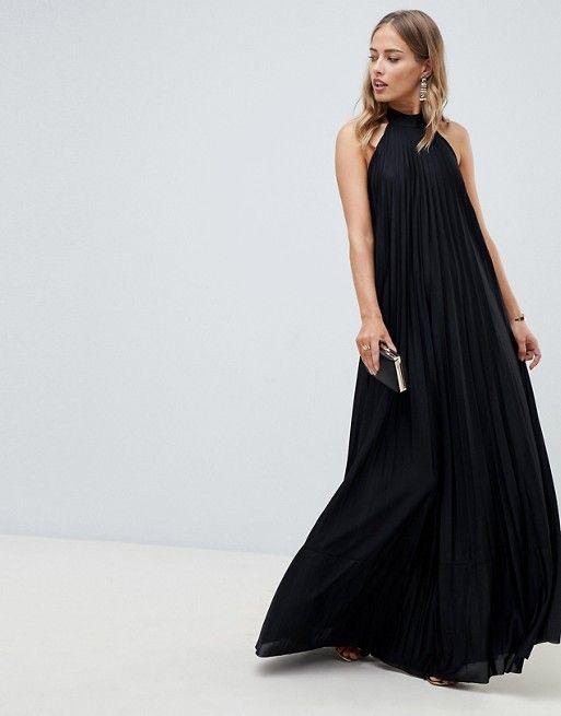 445616e76bc DESIGN Vanessa Backless Halter Pleated Maxi Dress
