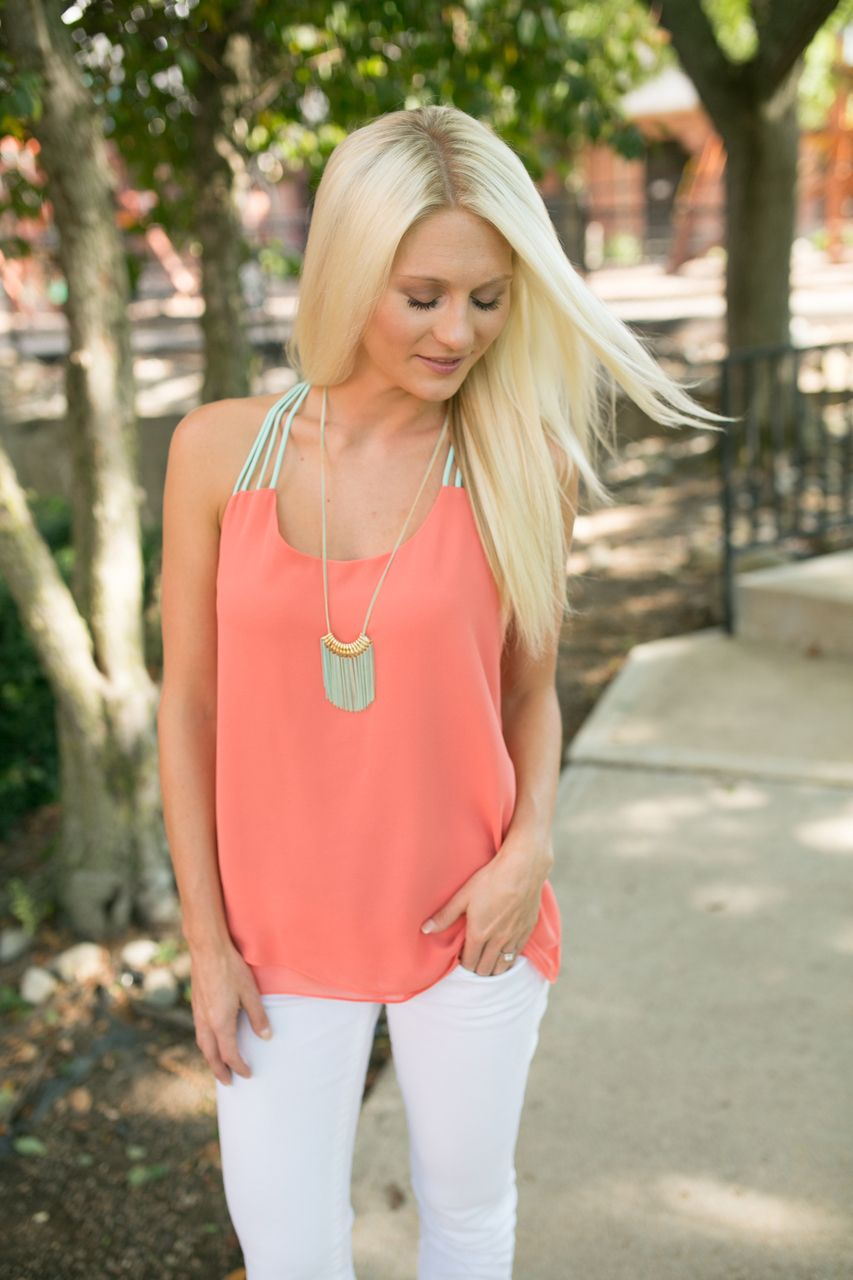Magnolia Boutique Indianapolis - Coral and Mint Chiffon Tank, $27.00 (http://www.indiefashionboutique.com/coral-and-mint-chiffon-tank/)