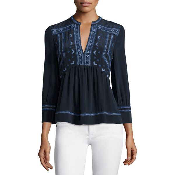 460f51555b Rebecca Taylor Long-Sleeve Embroidered Top ( 216) ❤ liked on Polyvore  featuring tops