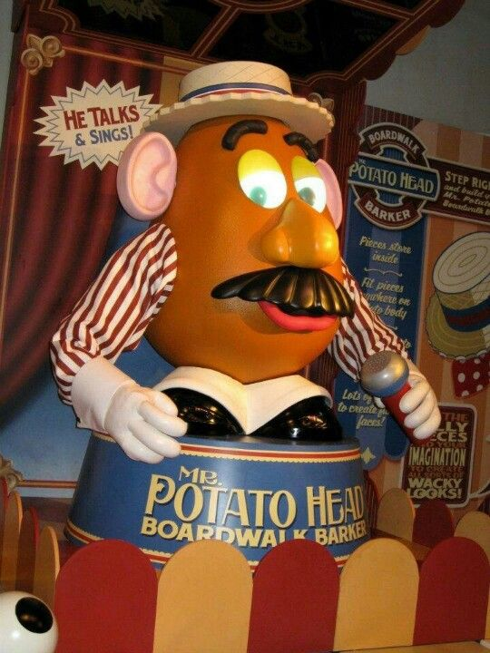 Mr. Potato Head in the line for Toy Story Mania! - For Disney travel quotes, contact Amie@GatewayToMagic.com
