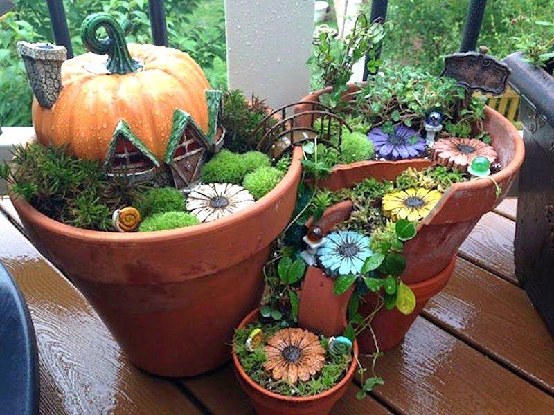 Casas de fantasía para el jardín reciclando macetas rotas ...