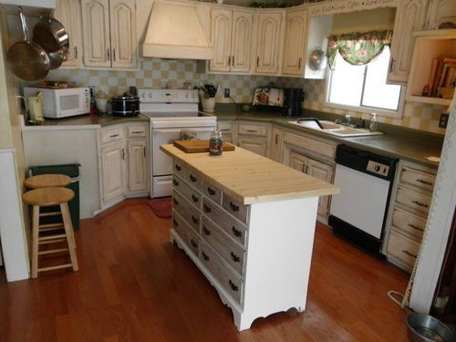 Repurposed Antique Dresser As A Kitchen Island With A: Take An Old Dresser And Make It Into A Kitchen Island