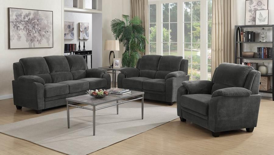 coaster charcoal fabric color 3 piece sofa set in 2019 products rh pinterest com