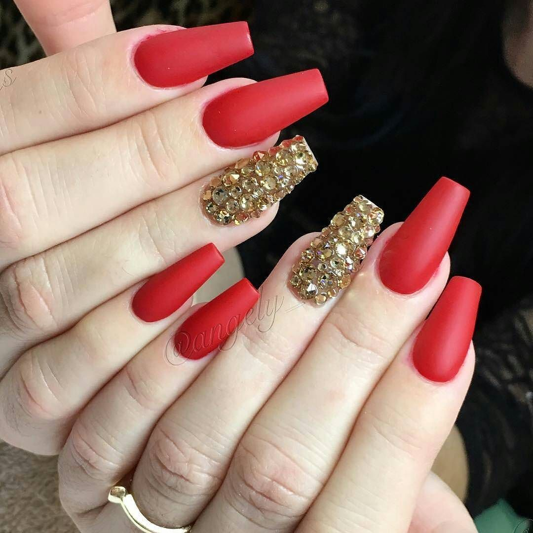 Amazing Nail Art Made Using Tones Products Gold Acrylic Nails Red And Gold Nails Red Nails