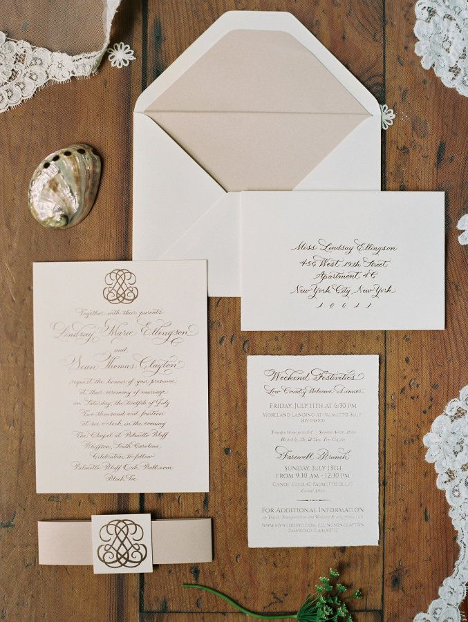 White and blush invitation suite: http://www.stylemepretty.com/2017/03/09/lindsay-ellingson-wedding-photos/ Photography: Perry Vaile - http://www.perryvaile.com/