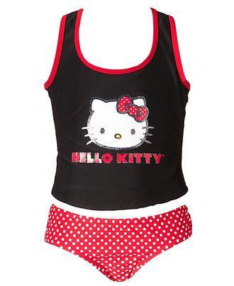 Hello Kitty Kids Swimsuit, Girls or Little Girls Polka Dot Tankini