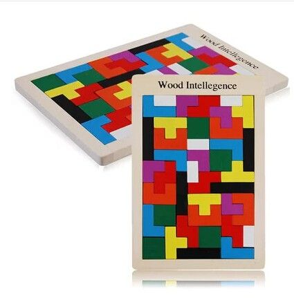 Hot Colorful Wooden Tangram Brain-Teaser Puzzle Tetris Game Educational Developmental Baby Toy for children gifts