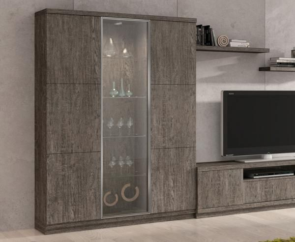 Modern 3 Door Display Cabinet With Glass And Wood Shelves In Many