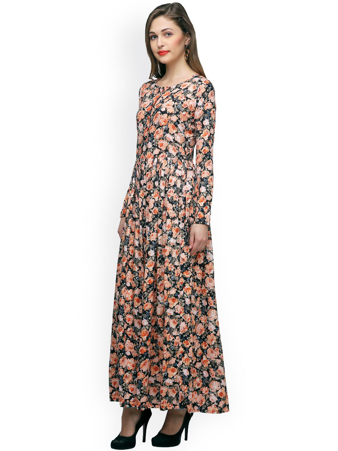 4fe9091a9b7f Buy Cation Women Black   Orange Printed Maxi Top - - Apparel for Women from  Cation at Rs. 1260