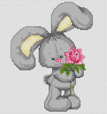 Bunny with Flower Forever Friends Cross Stitch Kit By Luca S