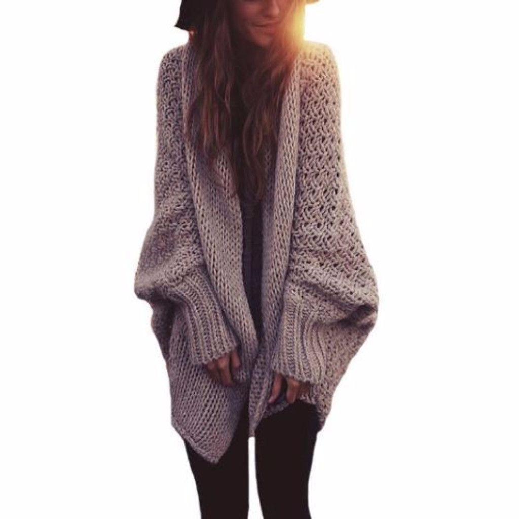 Oversized Knitted Batwing Sleeve Women Long Cardigan | Long ...