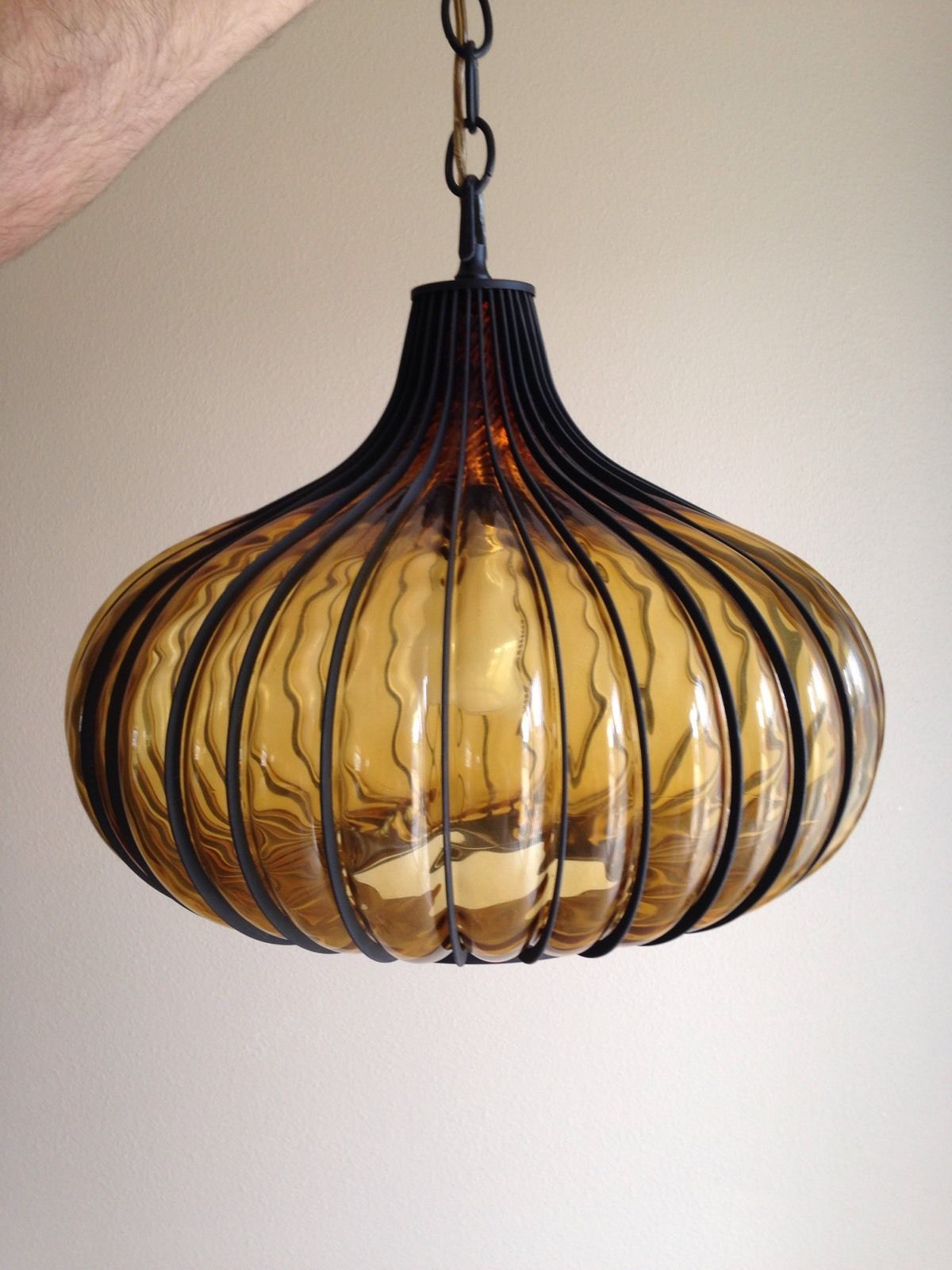 Mid Century Modern Italian Glass Onion Caged Light Swag Lamp