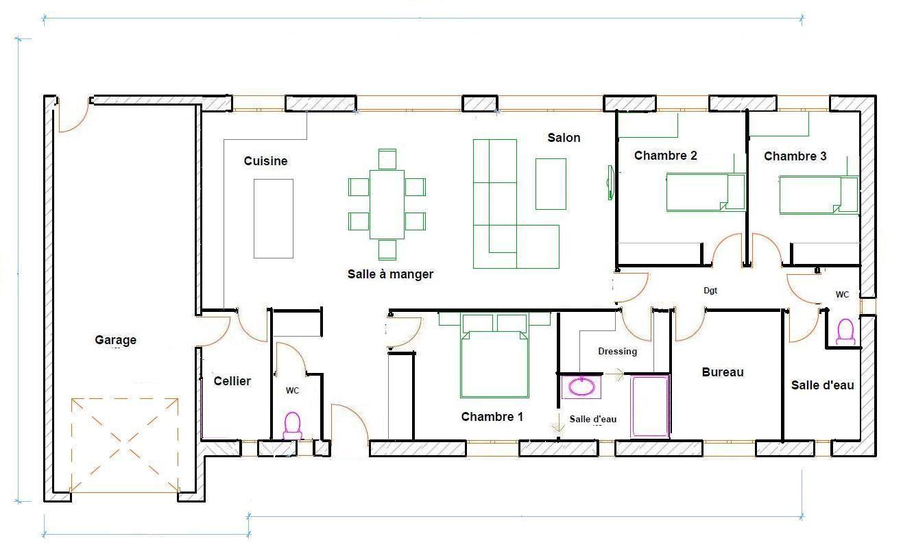 Plan Maison Rectangulaire 120m2 Plan Maison 2